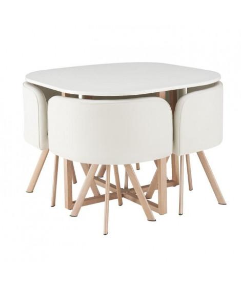LUND Ensemble table a manger 4 personnes style industriel décor chene + 4 chaises simili blanc - L 100 x l 100 cm