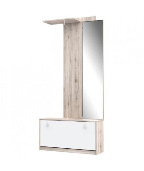 LANOS Vestiaire d'entrée style contemporain décor chene cendré et blanc mat - L 88,2 cm