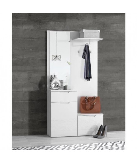 SIENNA Vestiaire contemporain blanc brillant - L 100 cm