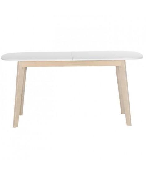 NAISS Table a manger extensible de 6 a 8 personnes scandinave + plateau mélaminé blanc - L 160 / 200 x l 90 cm