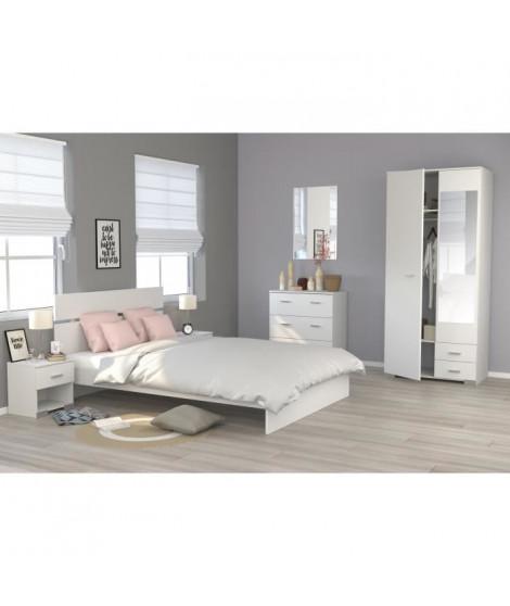 COSMOS Chambre complete 140 x 200 cm - Contemporain - Décor blanc - 2 chevets L 39 cm, 1 commode L 76,5 cm et 1 armoire L 90 cm