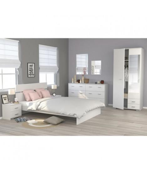COSMOS Chambre complete 140 x 200 cm - Contemporain - Décor blanc - 2 chevets L 39 cm, 1 commode L 153 cm et 1 armoire L 90 cm