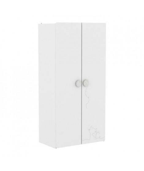 MISTIGRIS Armoire de chambre - 2 portes - Blanc mat et gris clair