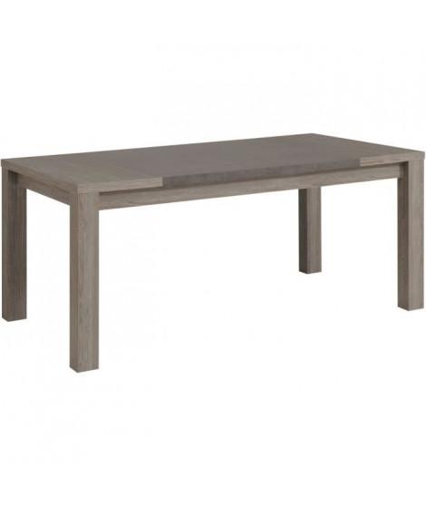 CLAY Table a manger de 8 a 10 personnes style contemporain décor chene argile et béton foncé - L 180 x l 90 cm