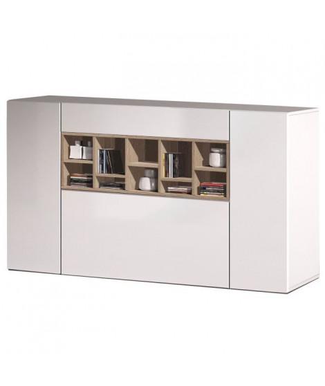 DECO Buffet bas contemporain blanc brillant et décor chene canadien - L 150 cm