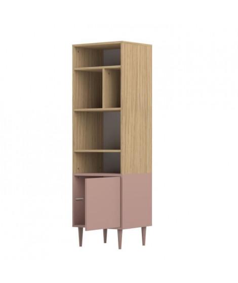 SYMBIOSIS Bibliotheque HORIZON style contemporain - Décor chene clair et rose poudré - L 46,55 cm