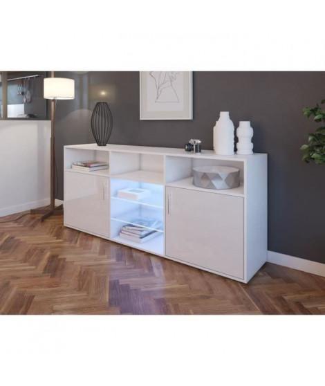 KORA Buffet bas avec LED contemporain blanc brillant et mat - L 180 cm