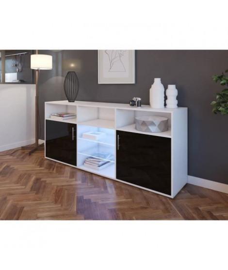 KORA Buffet bas avec LED contemporain noir brillant et blanc mat - L 180 cm