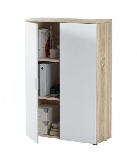 TAMPA Armoire de bureau style contemporain décor chene canadien et blanc artik - L 119 cm