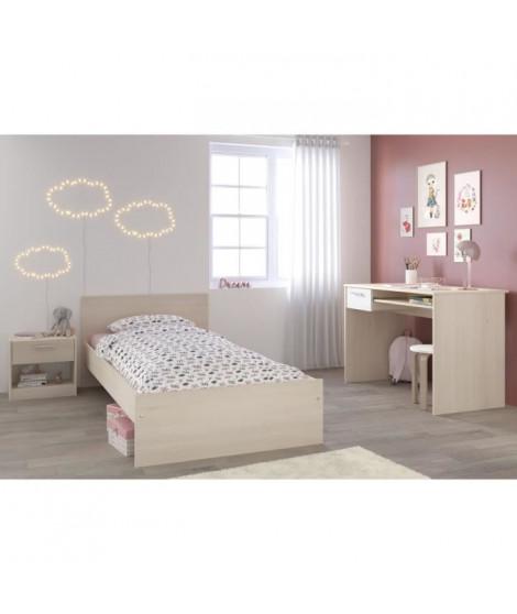 CHARLEMAGNE Chambre enfant complete - Lit + chevet + bureau - Style contemporain - Décor acacia clair et blanc