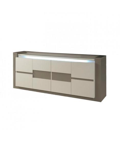 RIMNI Enfilade 4 portes Taupe et Gris laqué - Luminaire intégré - L 214 x P 50 x H 90 cm