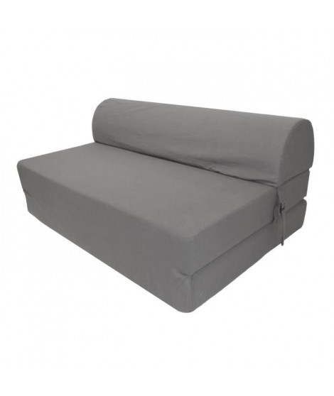 JUNE Chauffeuse 2 places - Tissu gris - Style contemporain - L 115 x P 75 cm