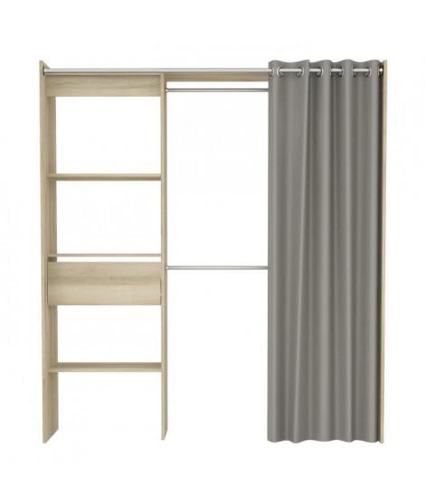 CHICAGO Kit dressing extensible contemporain décor chene kronberg - L 114 / 168 cm