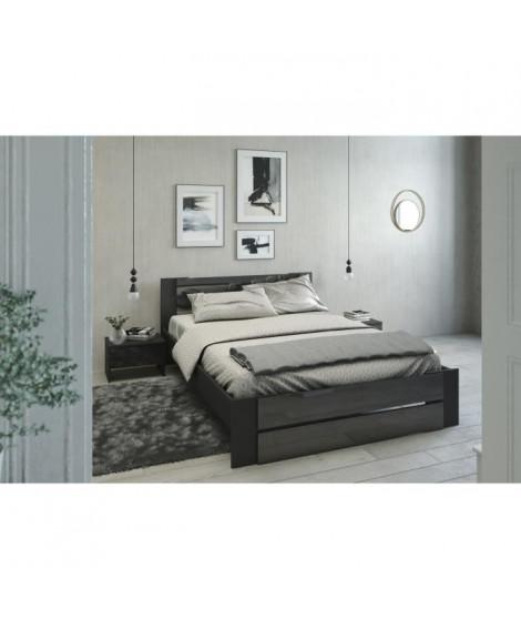 EDEN Ensemble chambre lit 140x190 cm + 2 chevets noir brillant - L 146 x P 75 x H 195 cm