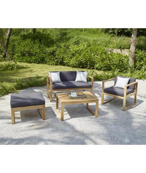 MOA Salon de jardin 4 places en bois d'acacia FSC - un fauteuil, une banquette 2 places et un pouf