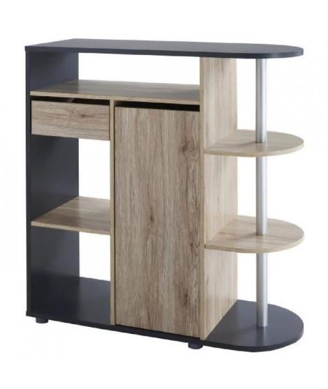 DAMIA Table bar style contemporain décor chene et gris mat - L 100 x l 40 cm