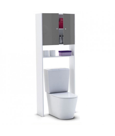 CORAIL Meuble WC ou machine a laver L 63 cm - Gris laqué