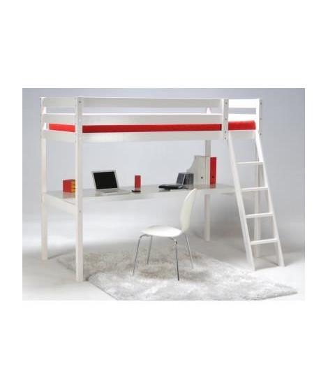 ASHTON Lit mezzanine enfant contemporain en bois épicéa massif verni blanc + sommier - l 90 x L 190 cm