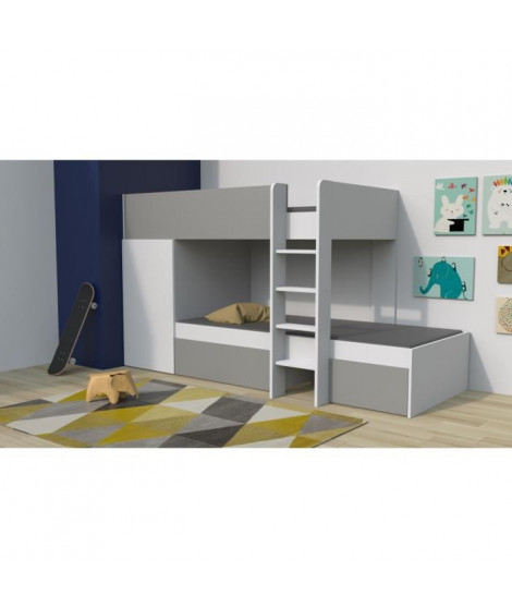 TWIN Lit superposé enfant contemporain blanc et gris - l 90 x L 190 cm