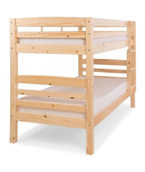 HOOCK Lit superposé enfant contemporain en bois pin massif verni naturel - l 90 x L 190 cm