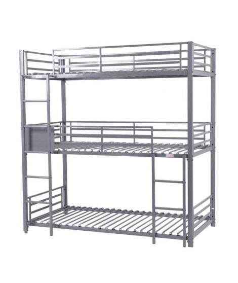 TRIO lit superposé en métal époxy gris  - Sommier inclus - 3x90x190 cm