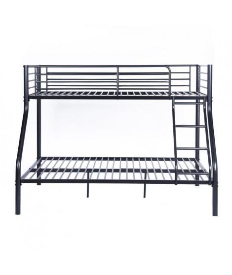 Lit superposé adulte urbain en métal noir époxy - Sommiers inclus - l 140 x L 190 cm et l 90 x L 190 cm