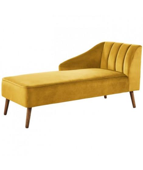 PAULINE Méridienne - Velours jaune - Vintage - L 154 x P 68 cm