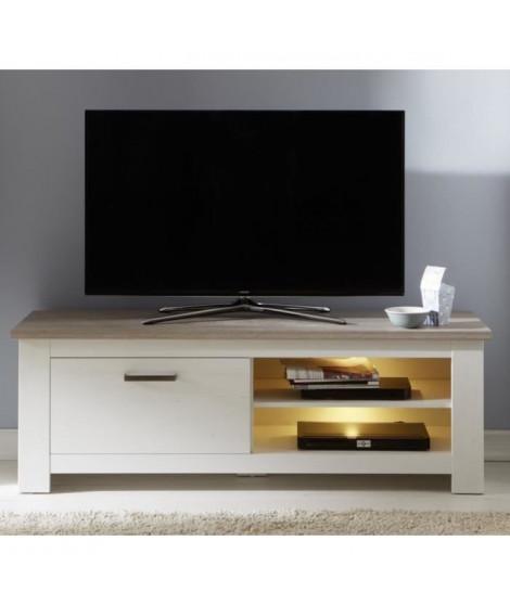 LOTTE Meuble TV Mural LED classique mélaminé décor chene bistré et pin blanchi - L 246 cm