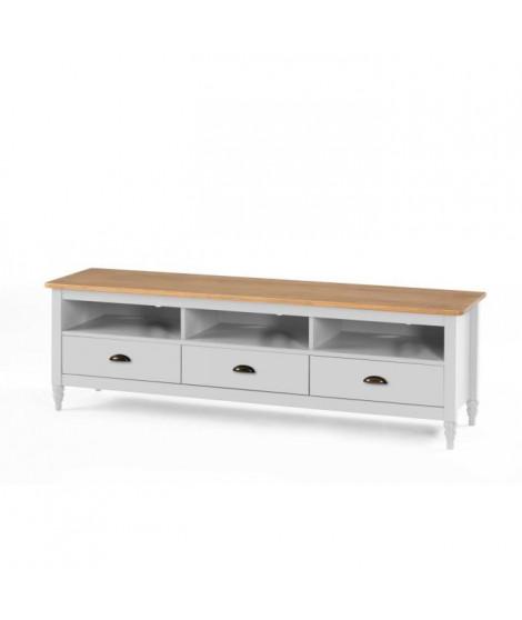 LAVANDE Meuble TV 3 tiroirs - Décor blanc ciré - L 158 x P 40 x H 49 cm