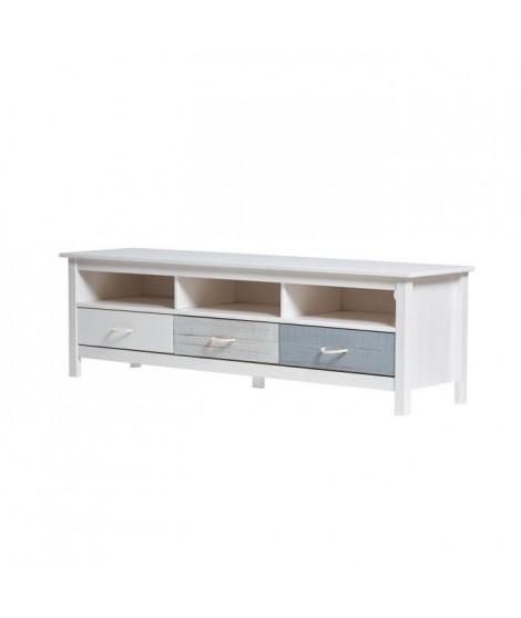 NEILA Meuble TV 3 tiroirs - Blanc bleu et gris vielli - L 158 x P 40 x H 47 cm