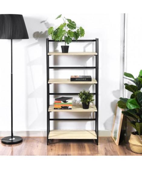 BACKER Etagere 4 niveaux - Noir et décor chene - L 60 x P 40 x H 125 cm