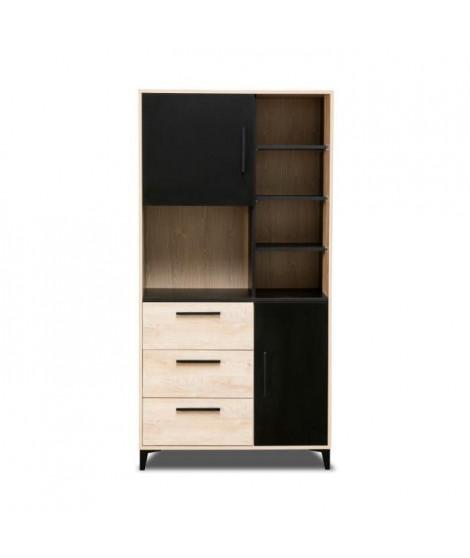 BLACKPOOL Buffet de cuisine 2 portes 3 tiroirs - Décor chene et noir - L 90 x P 40 x H 178 cm