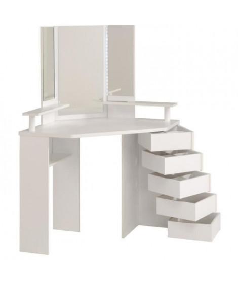 GLAM Coiffeuse avec LED style contemporain blanc - L 114 cm