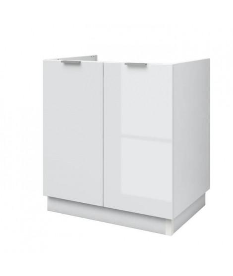 AVA Meuble sous-évier de cuisine L 80cm - Blanc laqué