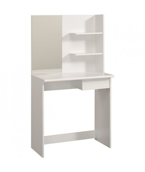 FASHION Coiffeuse style contemporain blanc + tabouret - L 75 cm