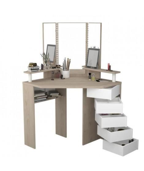 GLAM Coiffeuse avec miroir a LED - Décor chene et blanc - L 114 x P 142 x H 61 cm