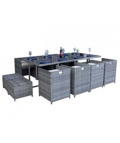 MILOS Ensemble table en résine et verre trempé + 8 fauteuils et 4 poufs en résine - 220 x 110 x 74 cm