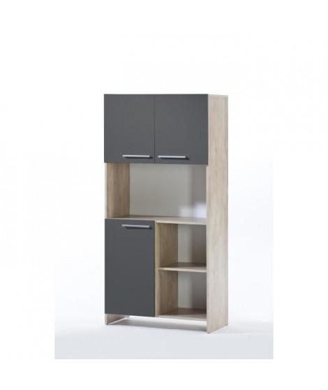 MIAMI Buffet de cuisine décor chene et anthracite - L 80cm