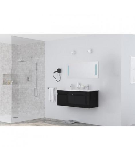LOUNGITUDE Meuble sous vasque ALBAN L 120 cm double vasque incluse - Noir brillant