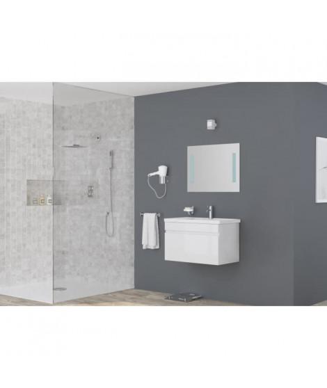ALBAN salle de bain simple vasque avec miroir L 80 cm - Blanc brillant