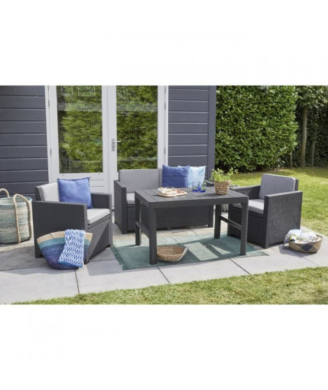 ALLIBERT  Salon de jardin MONACO LYON 4 places - imitation résine tressée avec table 2 positions - Graphite