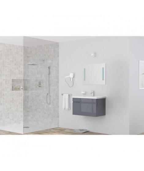 ALBAN salle de bain simple vasque avec miroir L 80 cm - Gris brillant