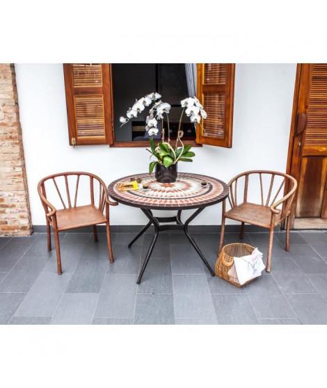 Meuble de jardin - Table de jardin acier et mosaique en céramique ronde - Ø 110 cm