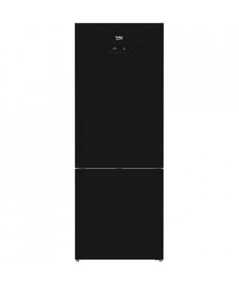 BEKO RCNE520E20ZGB-Réfrigérateur congélateur bas-454L (330L + 124L)-Froid total no frost-A+-L70cm x H192cm-Porte en verre noir