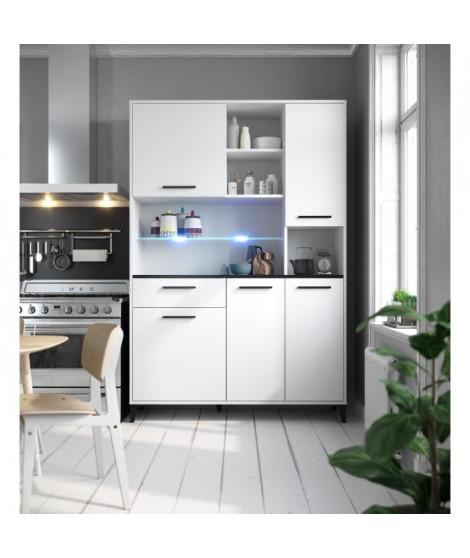 ECO Buffet de cuisine avec LED L 120 cm - Blanc et noir