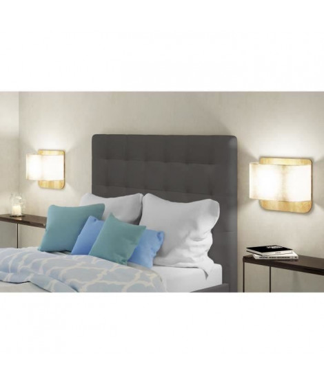 FINLANDEK Tete de lit capitonnée MUSTA style contemporain - Simili gris - L 140 cm