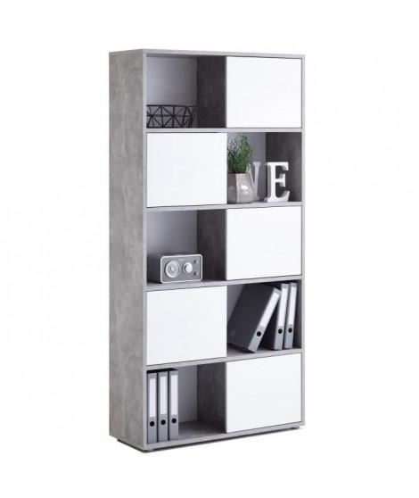 FUTURA Bibliotheque contemporain - Gris effet béton et blanc brillant - L 90 cm