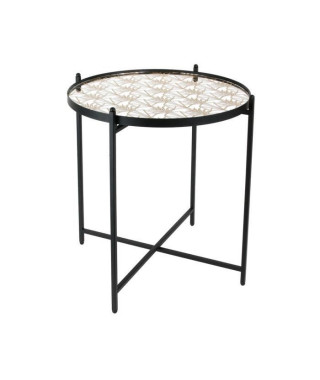 Bout de canapé miroir décoré pied noir - L 43 x P 43 x H 50 cm