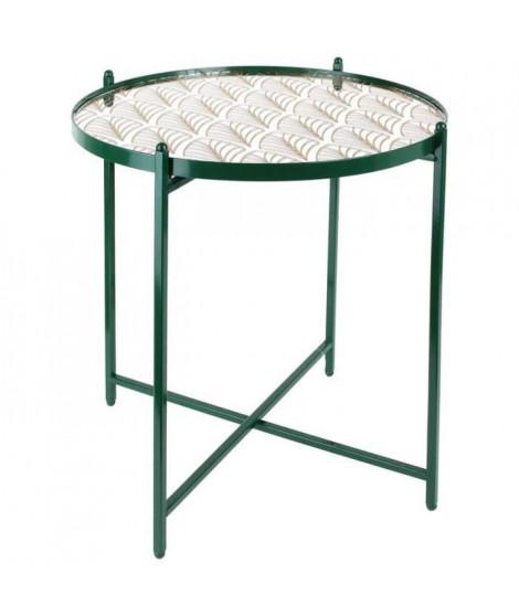 Bout de canapé miroir décoré pied vert - L 43 x P 43 x H 50 cm