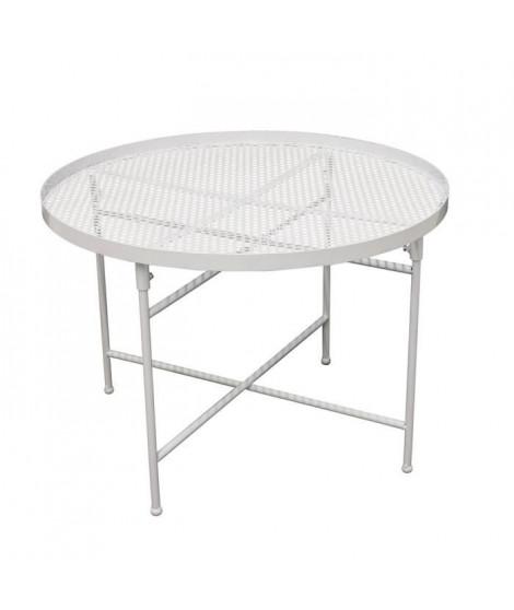 Table d'appoint Métal perforé - Blanc - L 50 x P 50 x H 35 cm